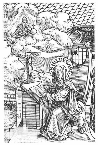Hildegard schreibt ihre Visionen nieder. Holzschnitt von Jacob Köbel, 1524